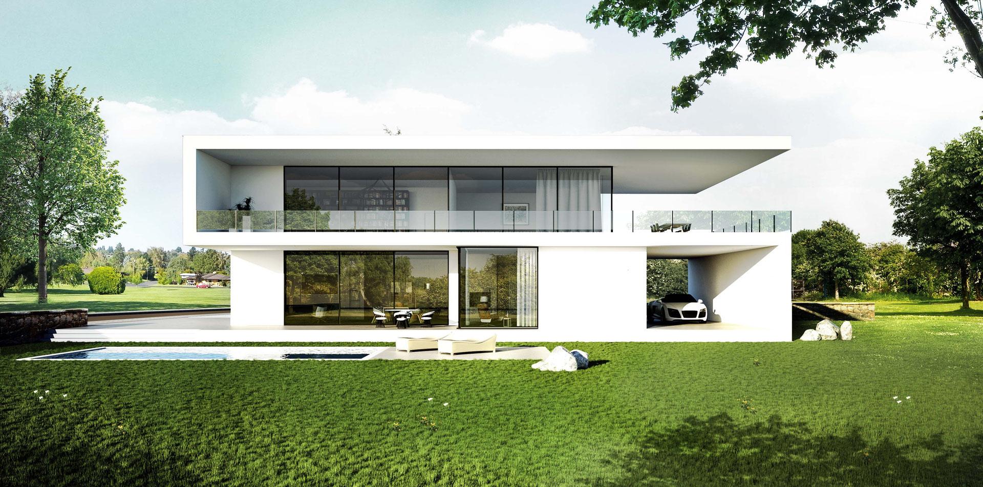 modernes einfamilienhaus im bauhausstil architekturvisualisierung. Black Bedroom Furniture Sets. Home Design Ideas