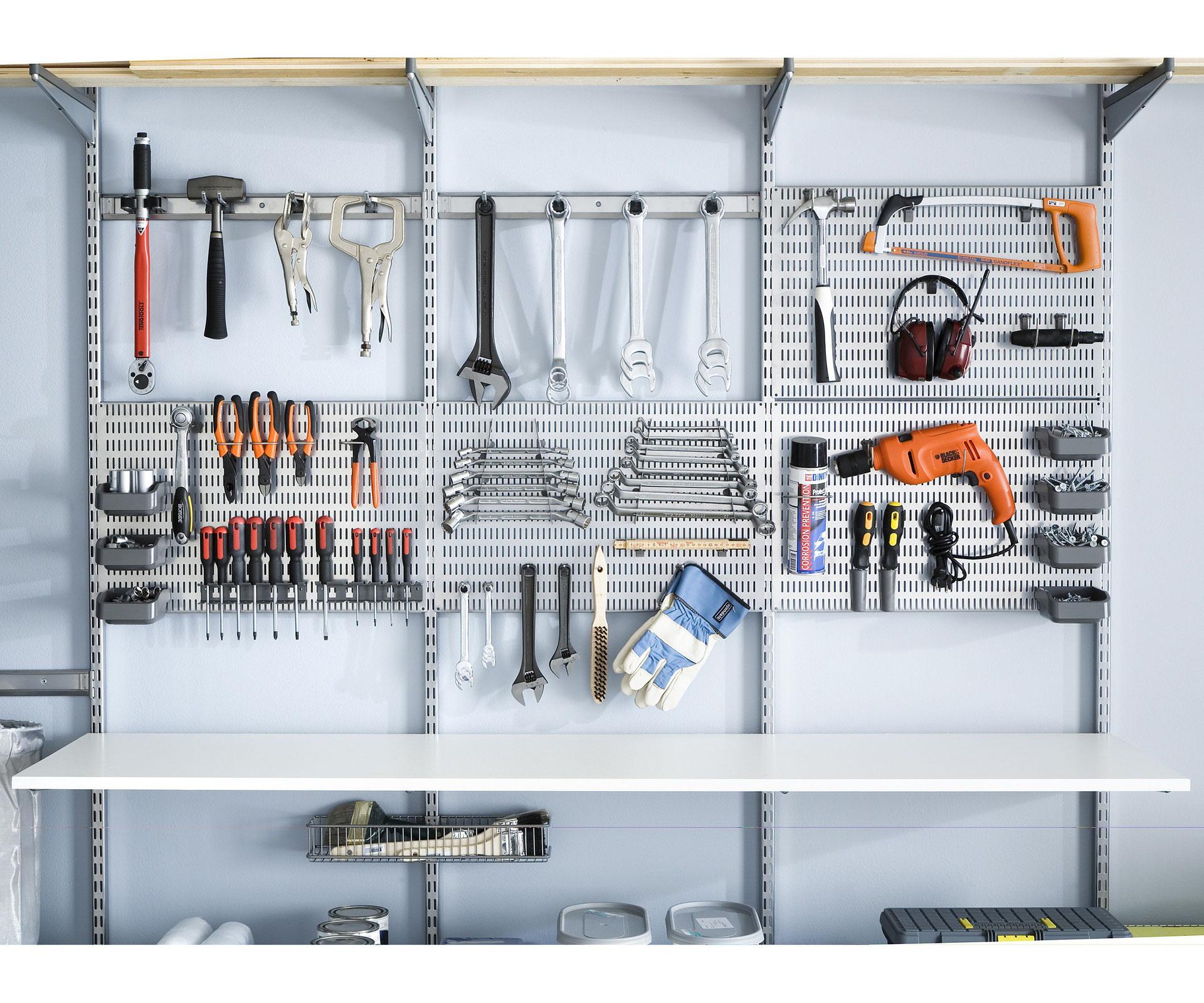 Garage optimal einrichten  Lochplatte und Zubehör - Garage optimal einrichten