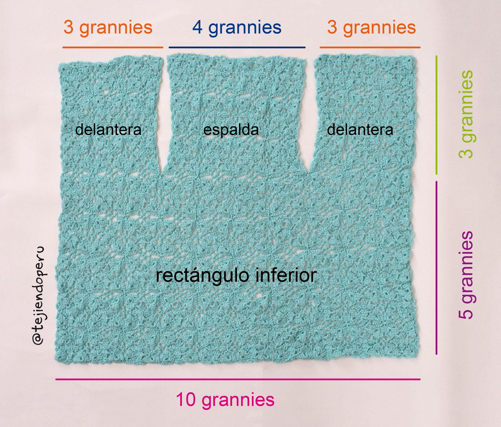Chaleco básico con cuadrados o grannies a crochet - Tejiendo Perú