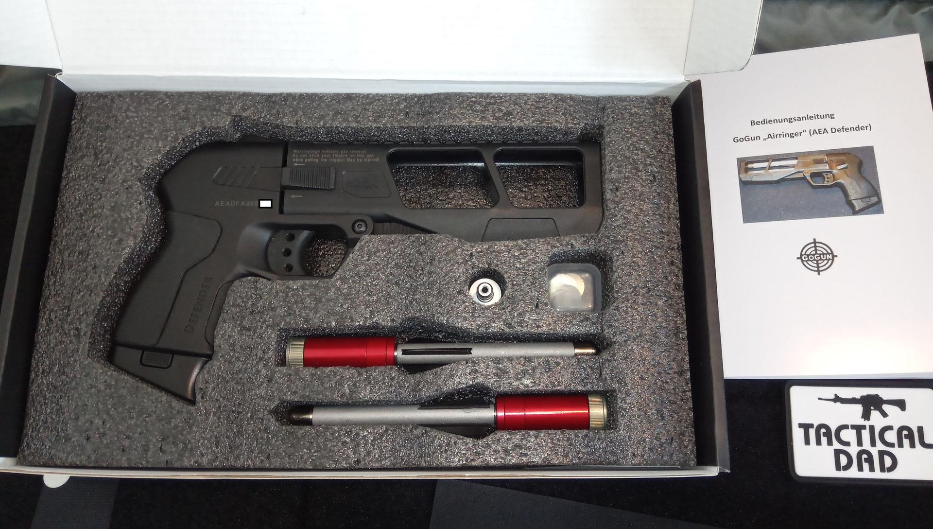 Pfeilpistole mit 3 Pfeilen und Zubehör
