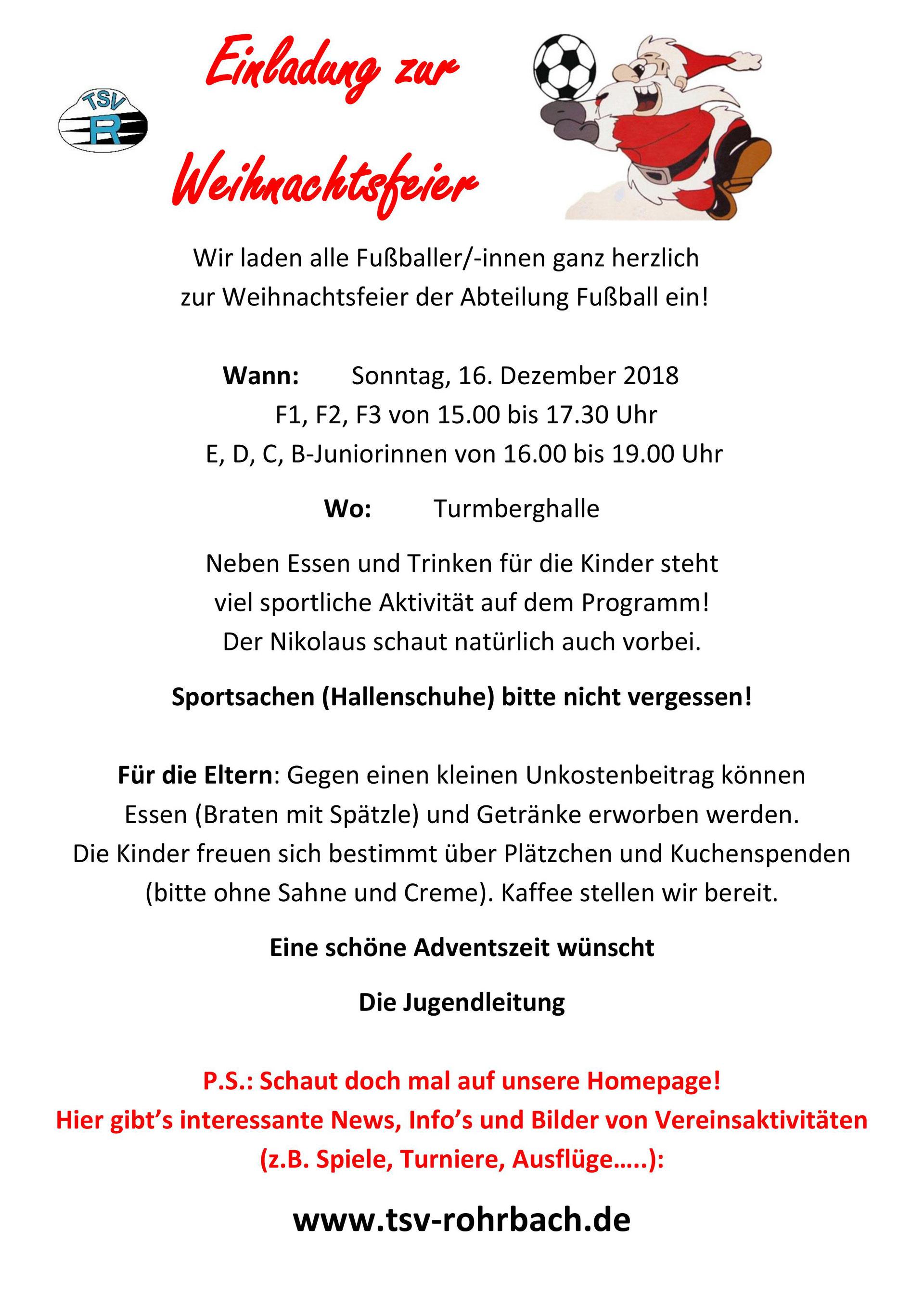 Einladung Weihnachtsfeier Verein.Einladung Zur Jugend Weihnachtsfeier Abteilungen Des Tsv