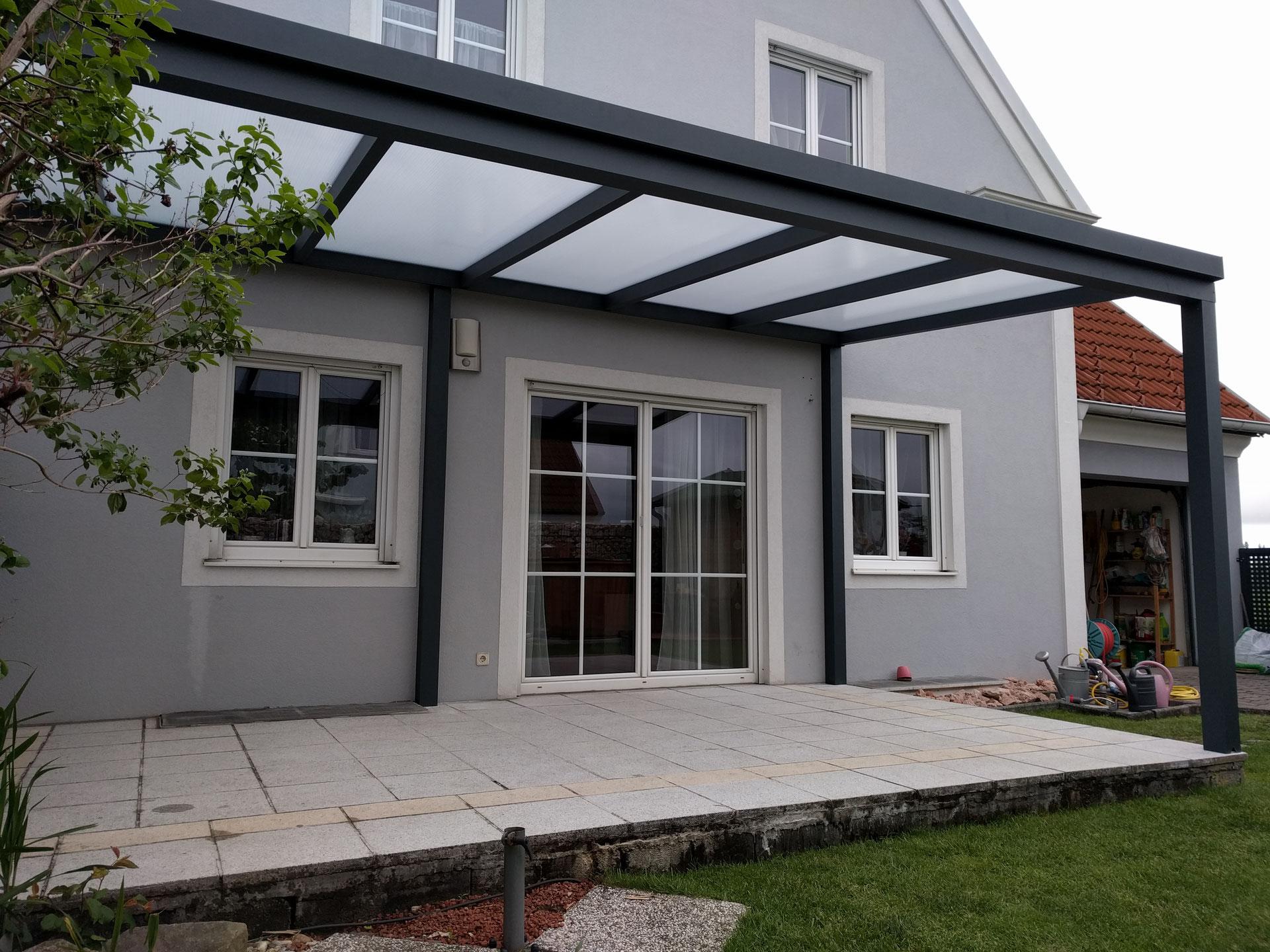 terrassendach alu bausatz anthrazit mit opalen pc dachplatten bez korneuburg sommergarten