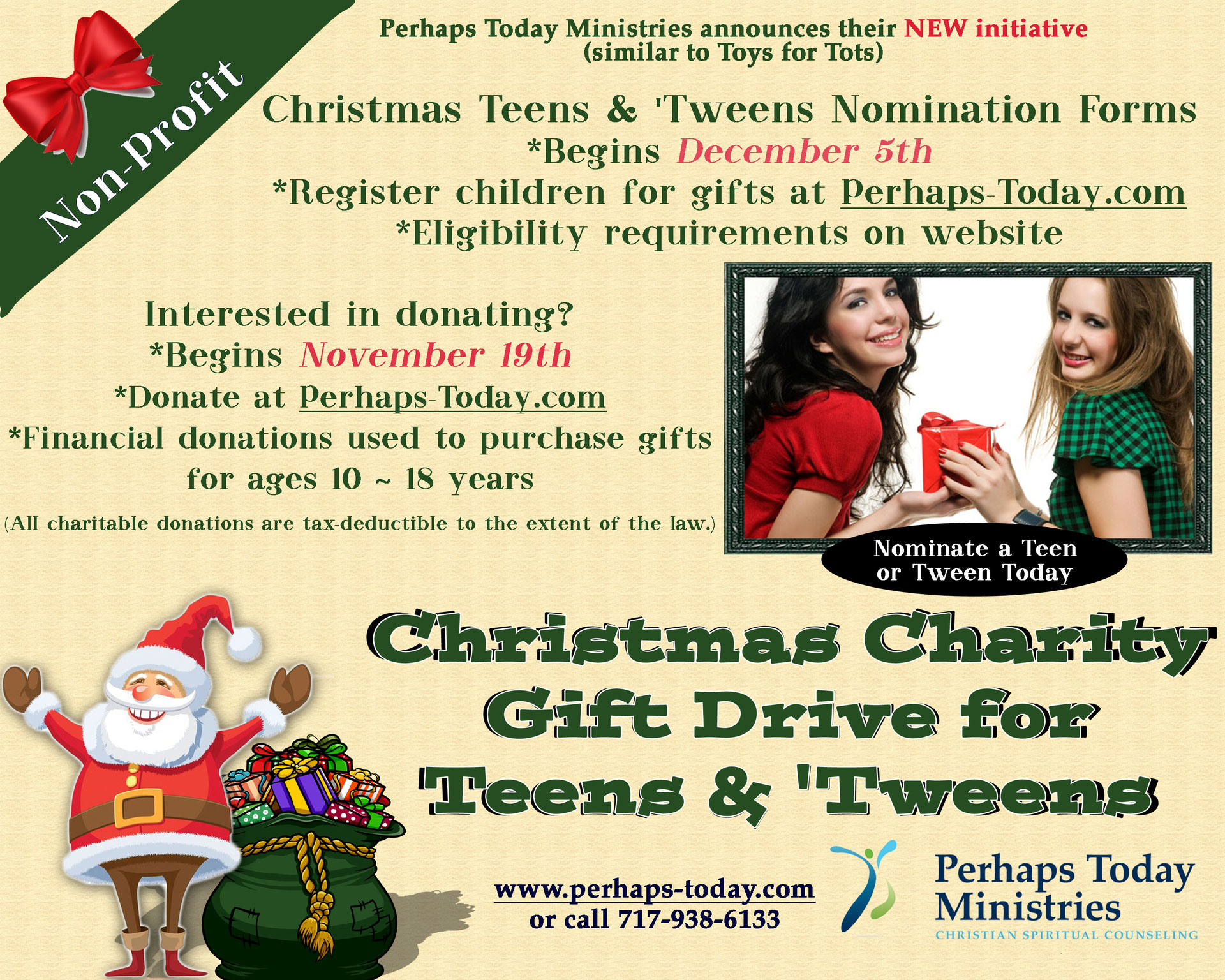 Christmas Teens and 'Tweens Charity Gift Drive - Perhaps Today Ministries -  Christian Spiritual Counseling by Donation
