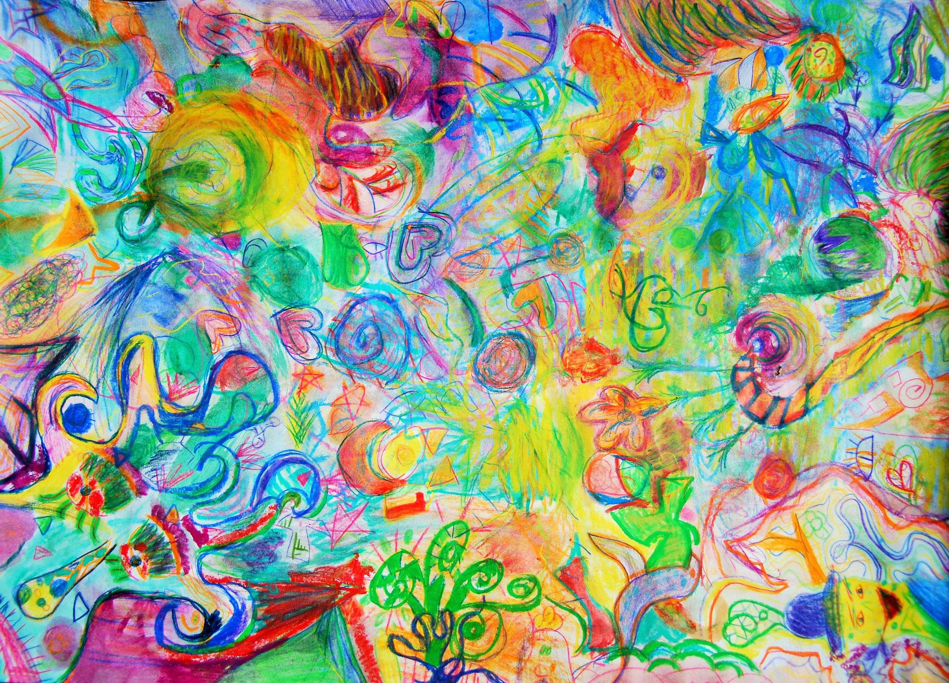 Malen mit Ölkreide,Pastellkreide und wasservermalbaren
