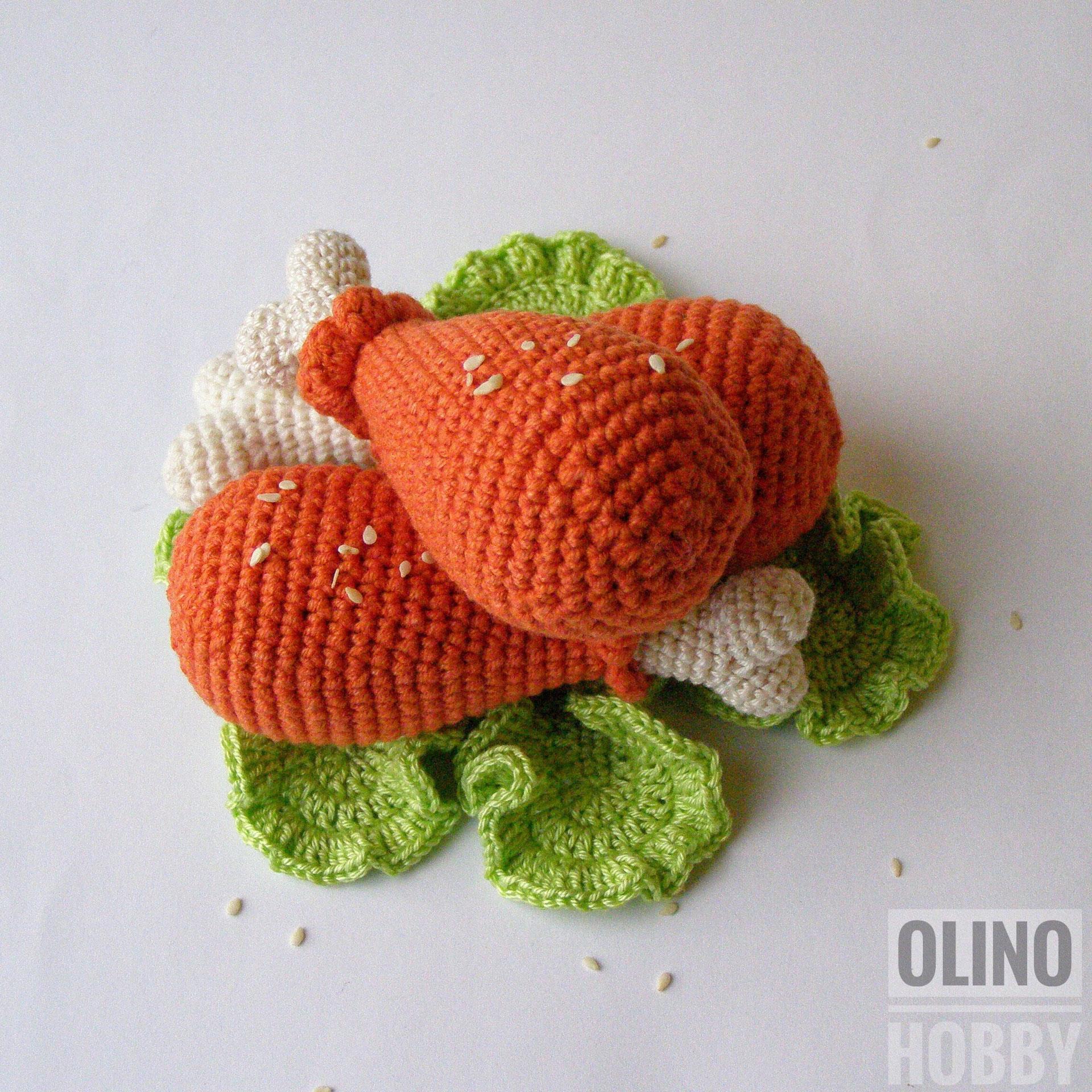 Fried Chicken Legs Crochet Patterns - OlinoHobby