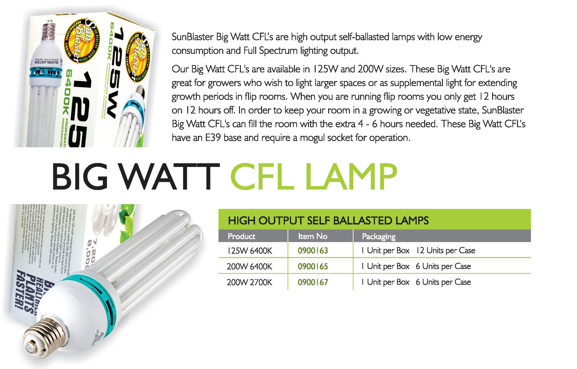 Small Watt Cfl S Sunblaster Lighting