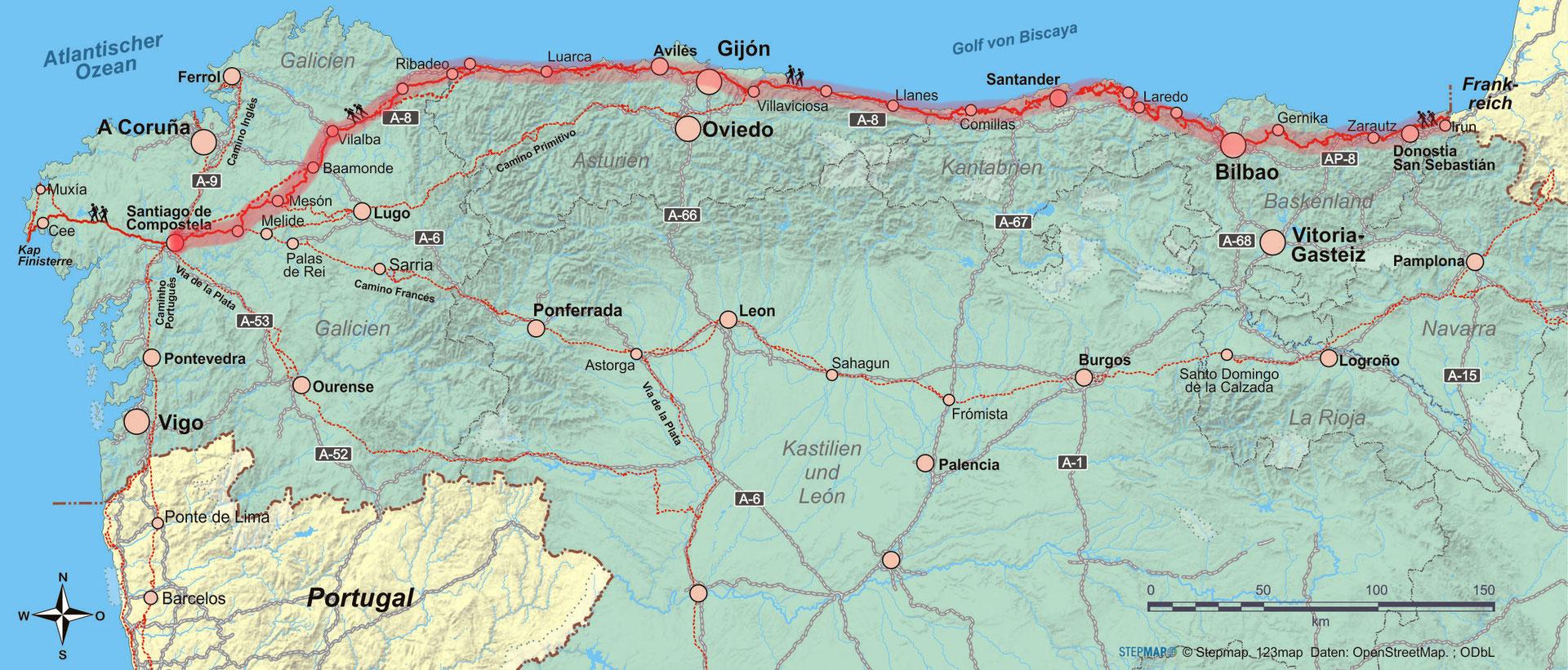 Jakobsweg Franken Karte.Jakobsweg Camino Del Norte Von Irun Nach Santiago De Compostela 815
