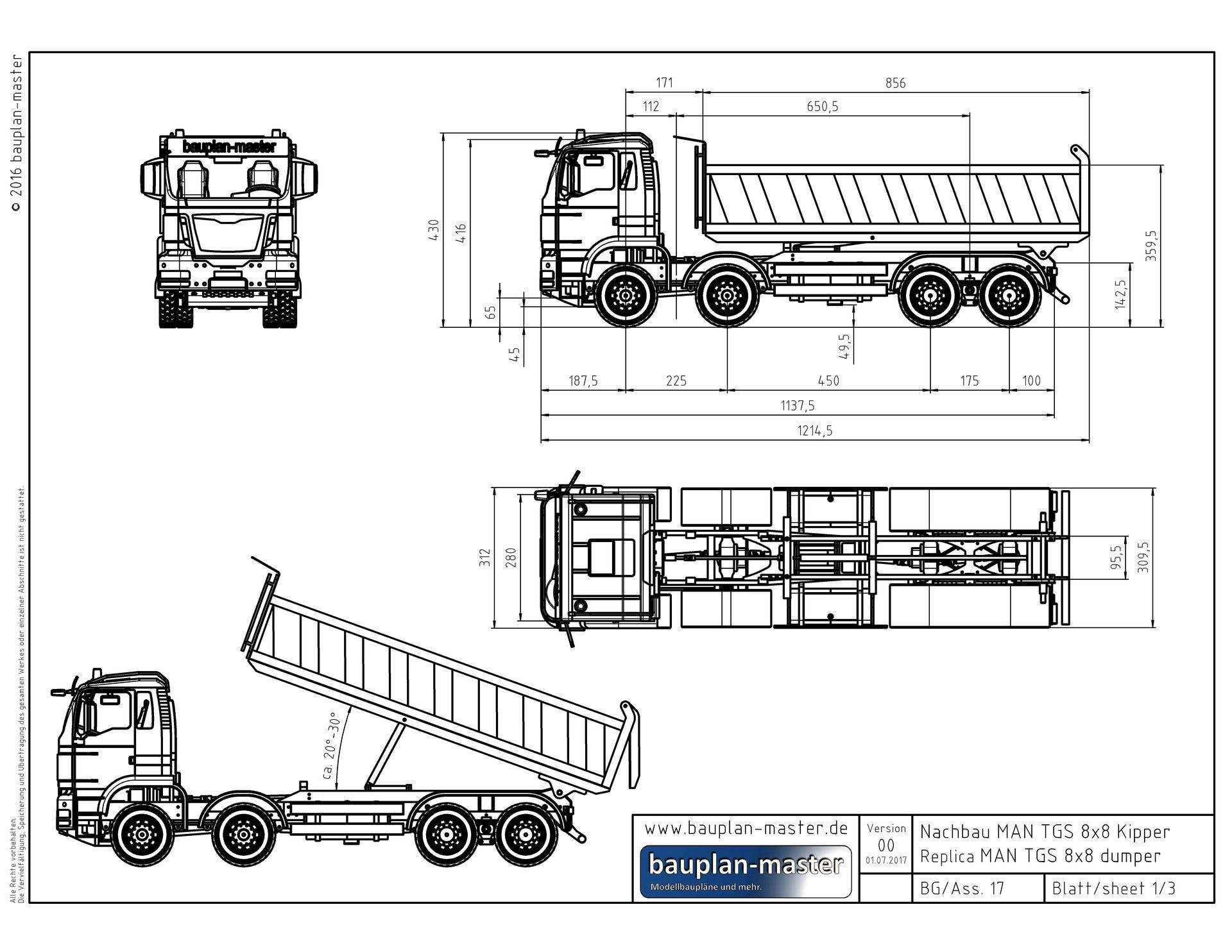Modellbauplan Man Tgs 8x8 Kipper Im Massstab 1 8 Bauplan Master