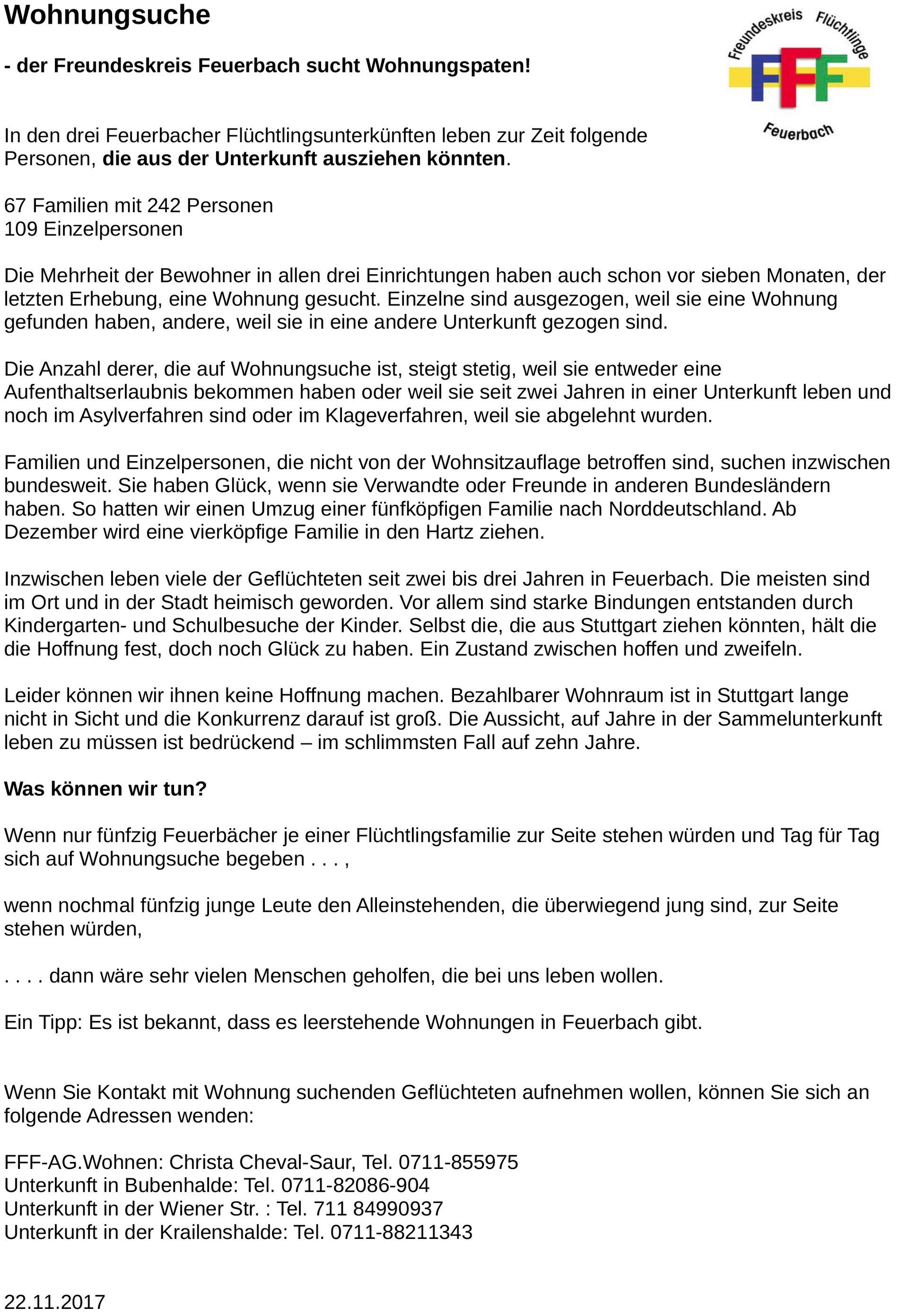 Wohnraum Gesucht Freundeskreis Flüchtlinge Feuerbach