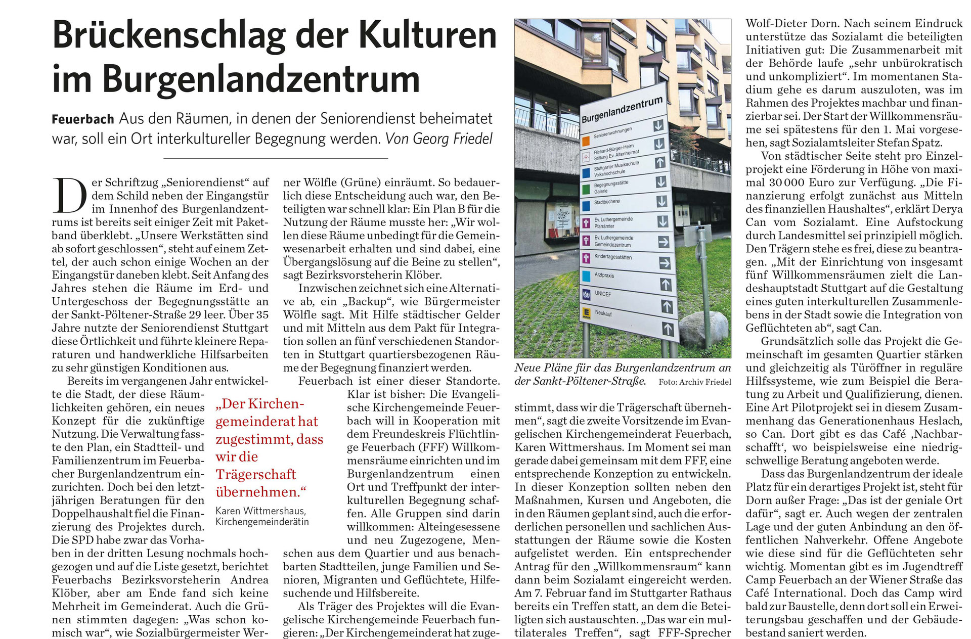 Presse - Freundeskreis Flüchtlinge Feuerbach