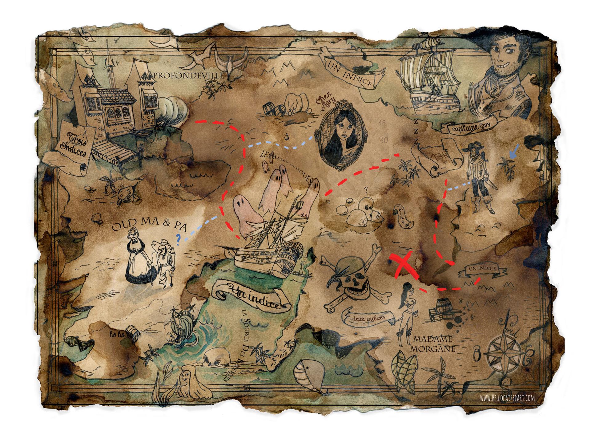 Carte Au Tresor Histoire.Carte Au Tresor Chasse Au Tresor Enigme Hello Faire Part