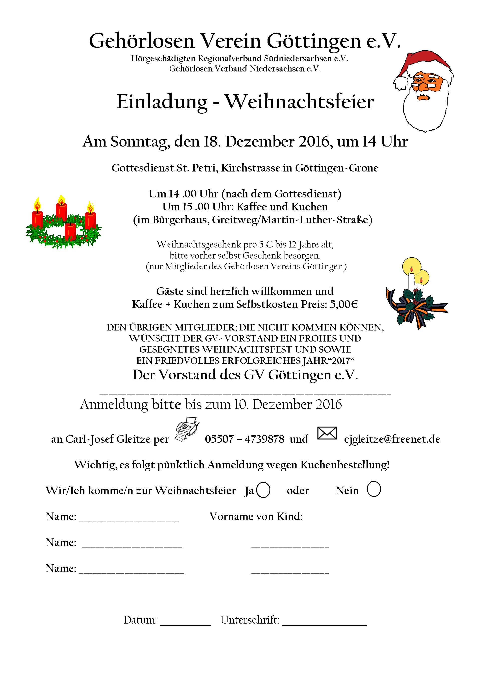 Einladung Weihnachtsfeier Verein.Gehorlosen Verein Go Einladung Weihnachtsfeier Gv