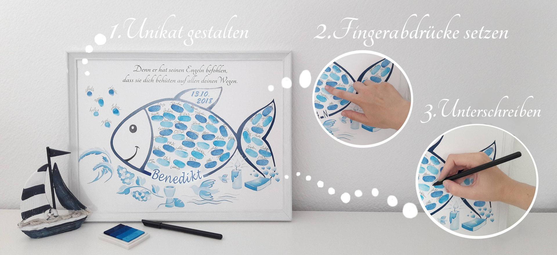 geschenk zur taufe fisch und taube fingerabdruckbaum