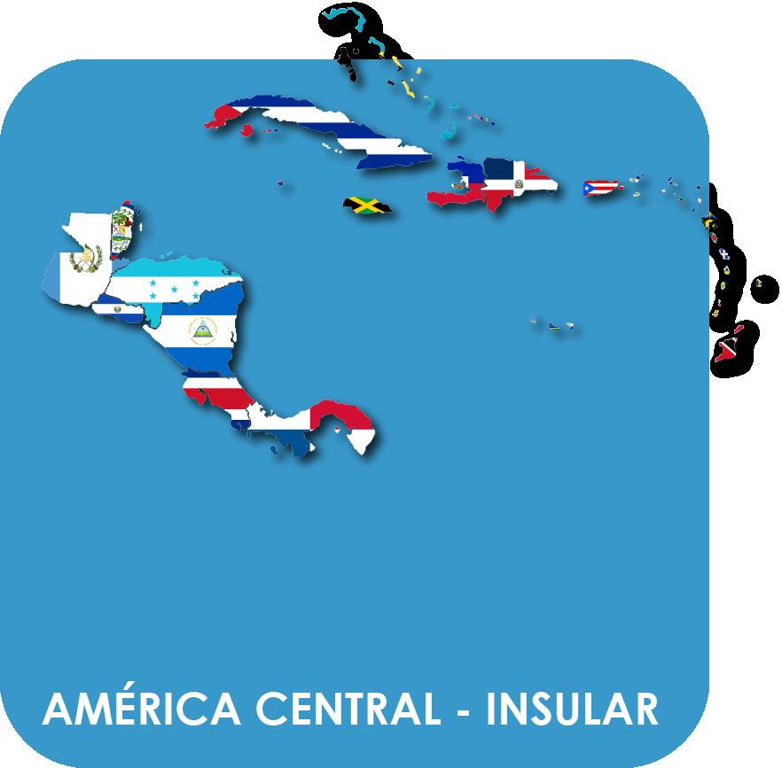 América Central y Antillas - Mapas y Banderas