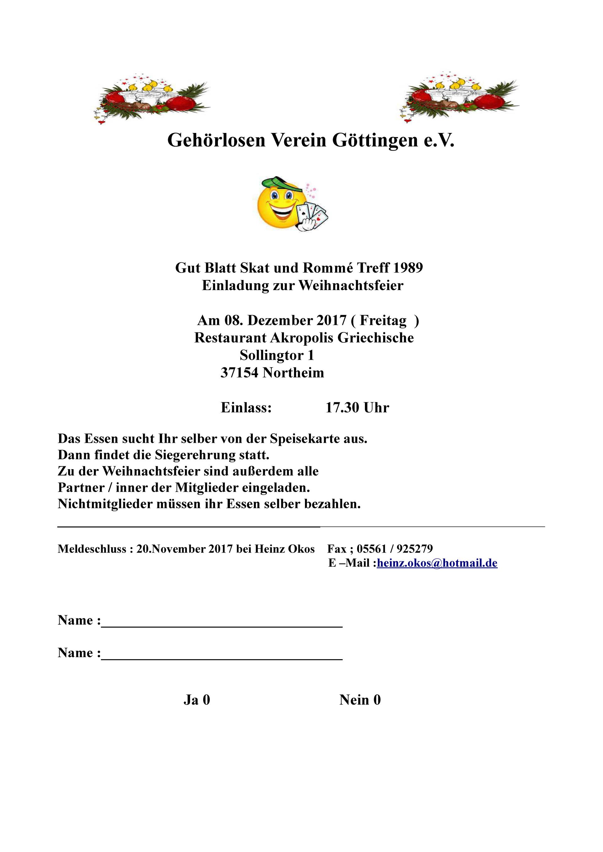 Einladung Weihnachtsfeier Verein.Abt Skat Romme Einladung Zur Weihnachtsfeier In Northeim