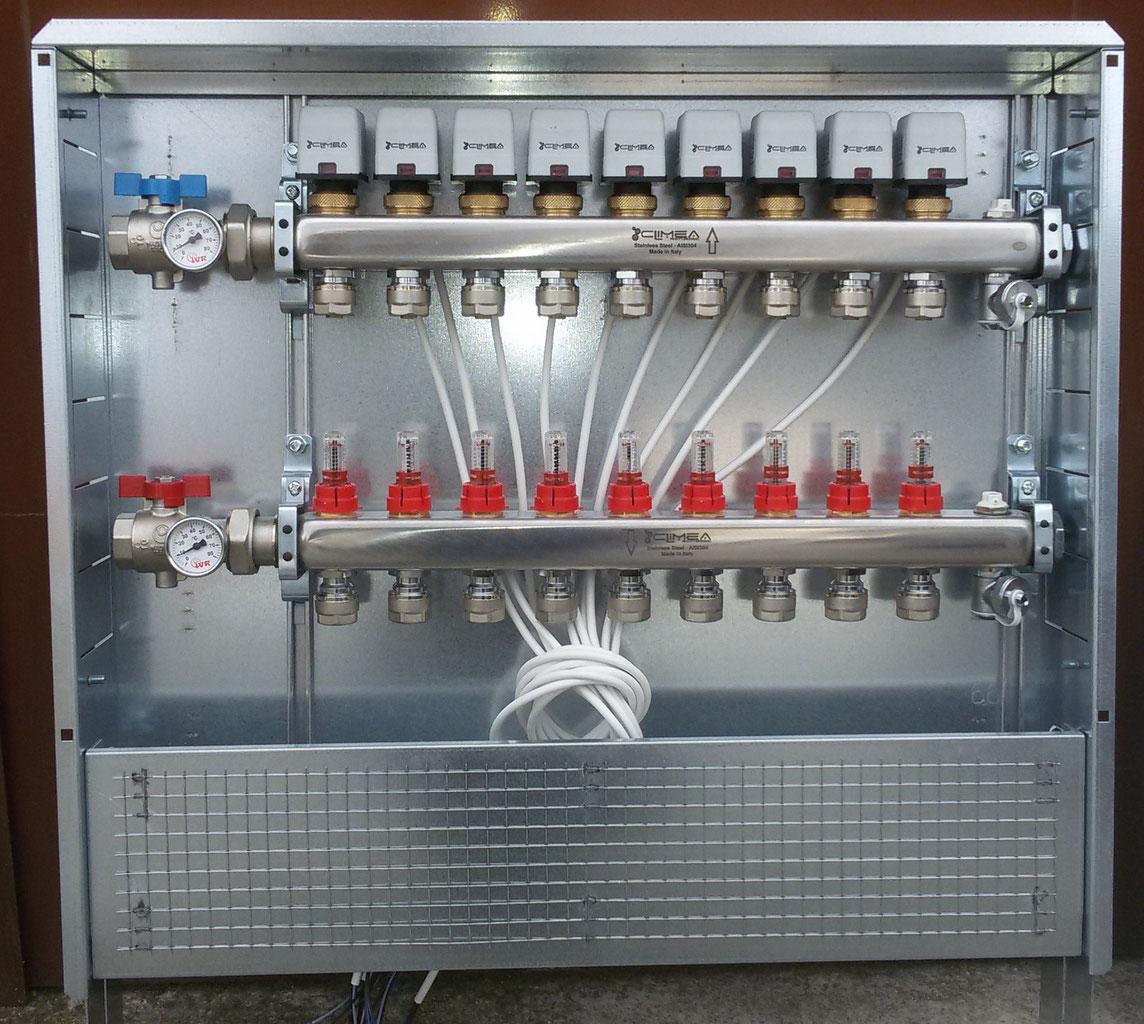 Riscaldamento A Pavimento Ribassato Spessore doppio collettore in acciaio inox climea per riscaldamento a pavimento
