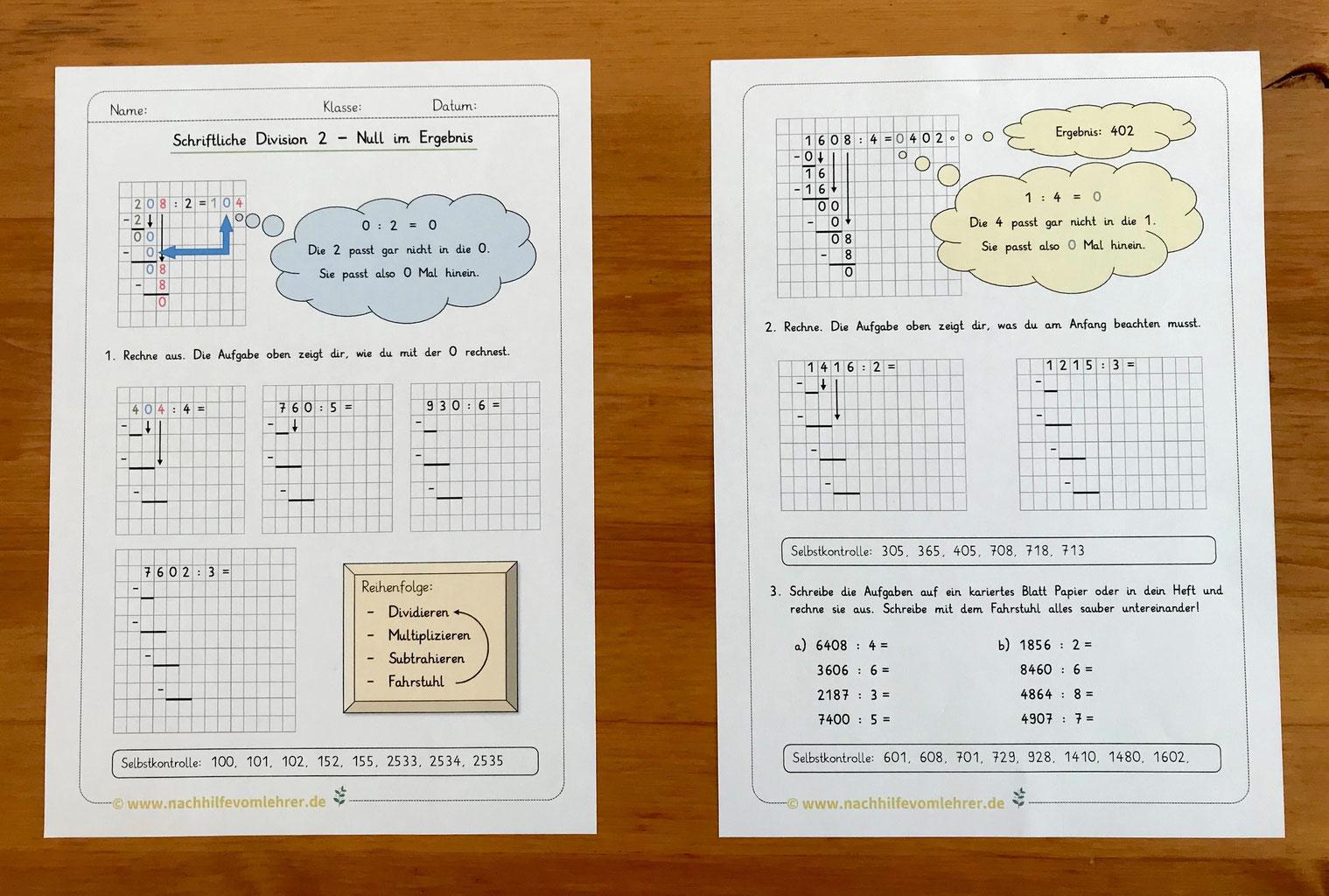 Schriftliche Division Klasse 20   nachhilfevomlehrer.de