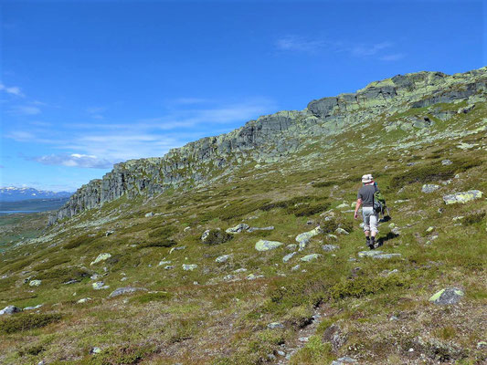 """Abzweig Richtung Gipfel, natürlich die einzige """"Felswand"""" weit und breit als Ziel"""