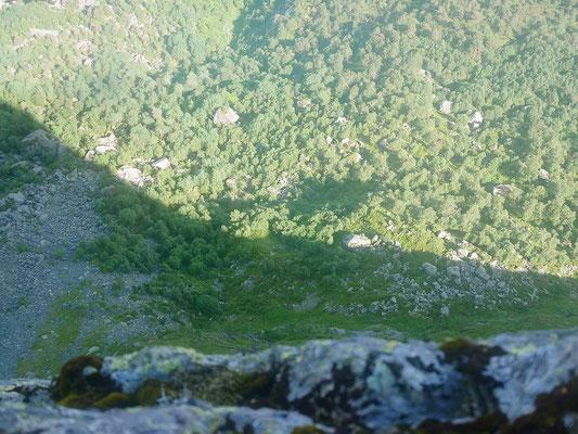 Da geht es 700 m abwärts