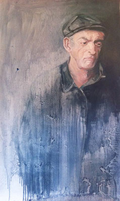 """""""Der Alte"""" 2010, Öl auf Kartonpapier, 150x90"""