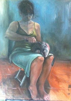 """""""Die Vorbereitung"""" 2011, Öl auf Leinwand, 85x60"""
