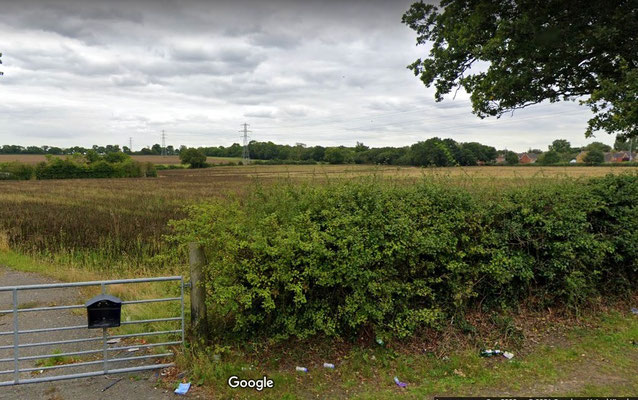 Farmland east of Walmley viewed from Springfield Road. Image from Google Maps Streetview 2019
