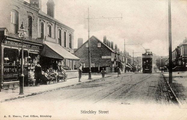 Stirchley post office on the Pershore Road near the corner of Mayfield Road.  The tram is heading into the City Centre - postcard
