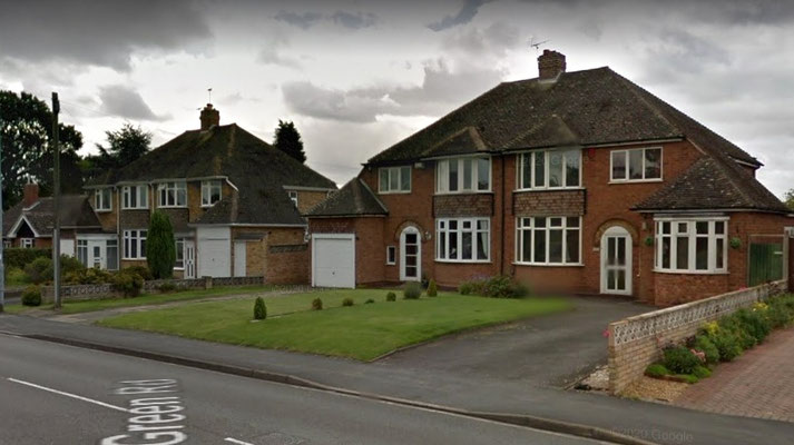 Mid-20th century housing on Wylde Green Road - image from Google Maps Streeview 2019
