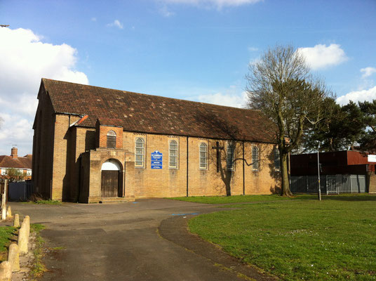 St Gabriel's church photographed in 2015 by Andrew R Abbot on Wikipedia. The building is currently unsafe and the congregation now uses the church hall.