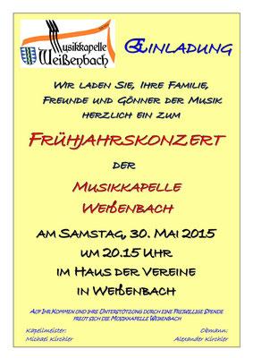 Einladung zum Frühjahrskonzert der Weißenbacher Musikkapelle