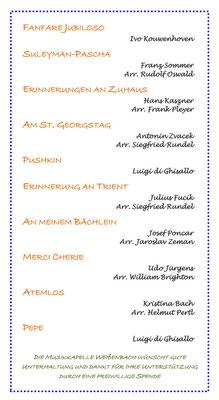 Das Programm der Musikkapelle Weißenbach / Südtirol (Frühjahrskonzert 2015)