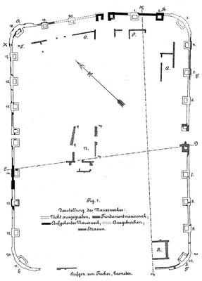 Plan der Ausgrabungen von 1895 durch die Reichslimeskomission