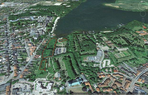 sumpfige Bereiche heute im Bereich Backofenwiese (rot markiert)