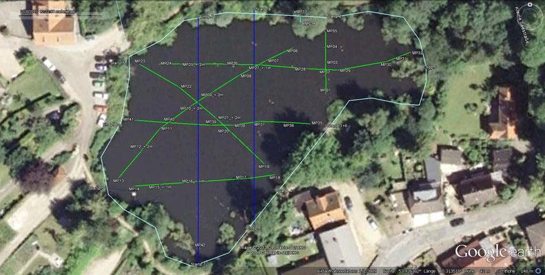 Strecken der aufgenommenen Tiefenprofile / grün = bereits erfasst, blau = Erfassung steht noch aus