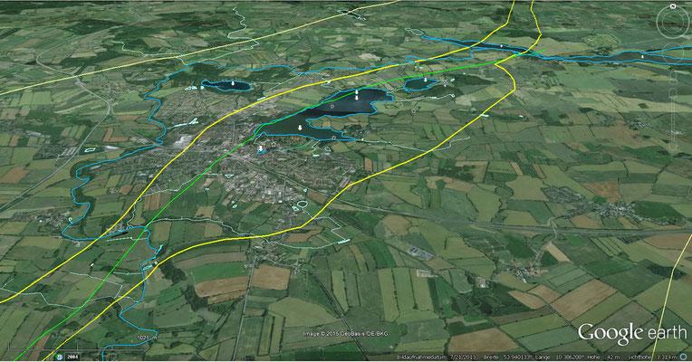 Der Salzstock Segeberg-Sülfeld hat bei Bad Segeberg seine größte Ausdehnung und Höhe. Gelb= Flanken des Diapirs, hellgelb= Rand des ursprünglichen Salzkissens in 4km Tiefe (nach NIBIS-Kartenserver des LBEG)