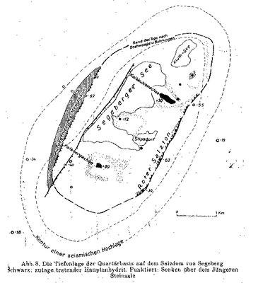 """""""Lage der tektonischen Elemente im Salzstock Bad Segeberg"""" Original-Titel: """"Die Tiefenlage der Quartärbasis auf dem Salzdom von Segeberg"""" (Teichmüller 1946)"""