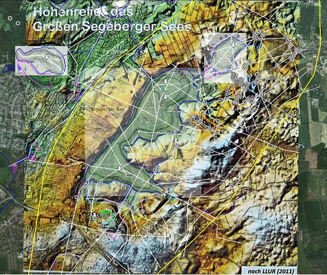 Aus den Daten lässt sich nun ein Muster von Störungszonen / Bruchlinien im Oberflächen-nahen Untergrund und im Top des Diapirs unter Bad Segeberg konstruieren