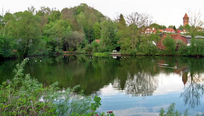 Kleiner Segeberger See, Blick nach OSO, mit Kalkberg und Wasserturm