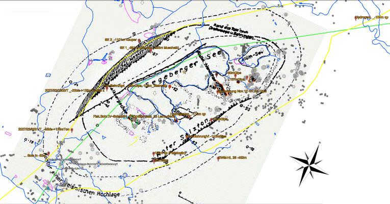 ...ergänzt mit gravimetrischer Karte von Teichmüller aus 1946 (orange umfasst = Orte erhöhter Schwere, mutmaßlich Anhydrit) +Verlauf der präquartären Hauptstörung (grün) nach Karte des präquartären Untegrundes SH +Bohrdaten des  LBEG Geodatenzentrum