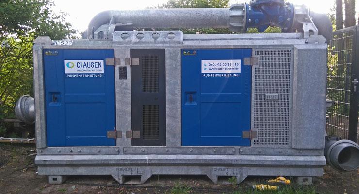 Eines von zwei Pumpenaggregaten, welche z.Zt. installiert werden (28.5.18)