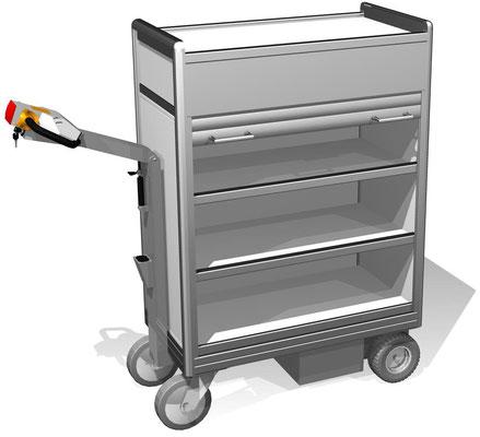 24 E-Mobil mit 3 Ebenen für schwerere Lasten und mit Rollladen verschließbar, BTH 960x500x1418 mm