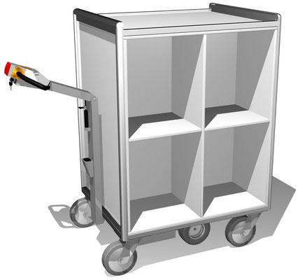 17 E-Mobil mit großen Fächer beidseitig, so dass 8 große Fächer für den Transport zur Verfügung stehen