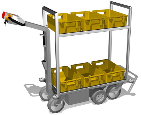 06 Elektromobil für Postkisten, 3. Ebene und auch längere Varianten möglich