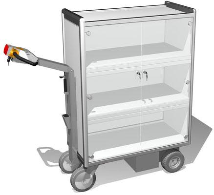 10 Elektromobil mit Türen zum Abschließen, 4 Ebenen verschließbar, BTH 960x600x1516 mm