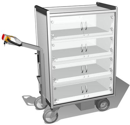 09 Elektromobil mit Einzeltüren mit Zuhaltung, 3 Ebenen verschließbar