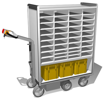 16 E-Mobil 4-reihig, unten Fach für Postkisten, oben Ablagemöglichkeit für Päckchen und Pakete, BTH 1112x520x1600 mm