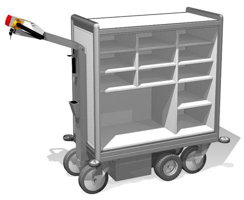 26 Elektro-Postmobil BTH 1110x467x1200 mm, mit Paketfach und 11 Postfächern, Fachböden höhenverstellbar, Zuladung ca. 100 kg, Schwerlastvariante bis 250 kg