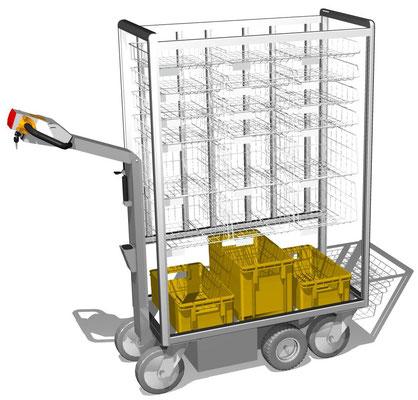 07 Elektromobil mit Sortierkörben, 3 Korbhöhen stehen zur Auswahl, Korbhöhe: 60 mm, 115 mm oder 185 mm