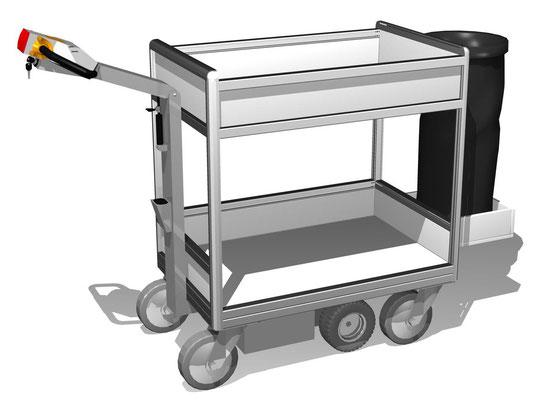 17 E-Mobil für Materialien mit Halter für Abfallsack