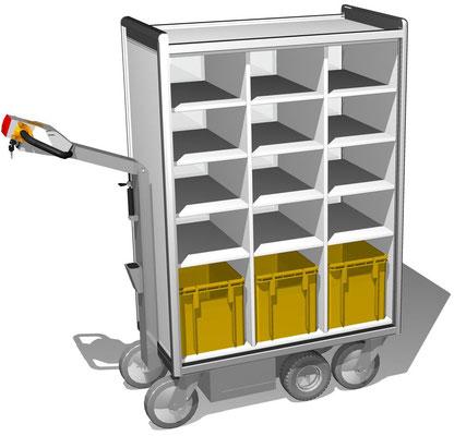 02 Elektromobil, 3-reihig, BTH 1110x520x1516 mm, Fachbreite 288 mm, andere Gesamt- und Fachmaße möglich, untere Fächer für Postkisten